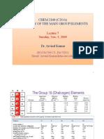 CHEM 2160 (C2OA)-(Main Gp Chemistry)-Lecture 7 -Dr. Arvind Kumar