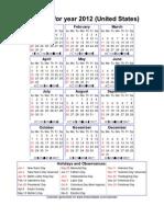 Year 2012 Calendar – United States