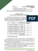 Edital Selecao PIBID Bolsista