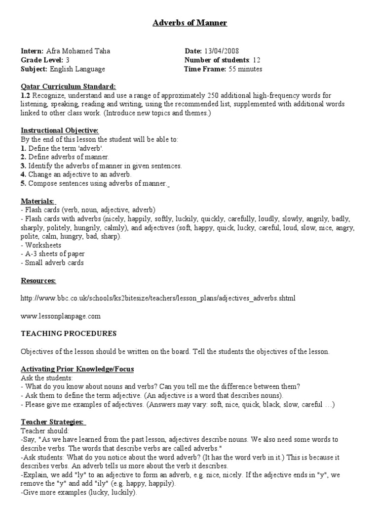 Worksheet Adverb Lessons adverbs of manner lesson plan adverb adjective