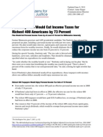 Pawlenty Plan Would Cut Income Taxes for Richest 400 Americans by 73 Percent