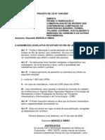 Projeto de Lei Nº 1546/2008 - Proibe a fabricação e comercialização de incenso que contenham a composição