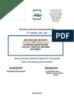 GESTION DES DECHETS PIQUANTS ET TRANCHANTS AU NIVEAU HOSPITALIER CAS DE L'HOPITAL IBN SINA DE RABAT Boumazgour