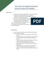 Procedimiento para la implementación de  un sistema de costos de calidad