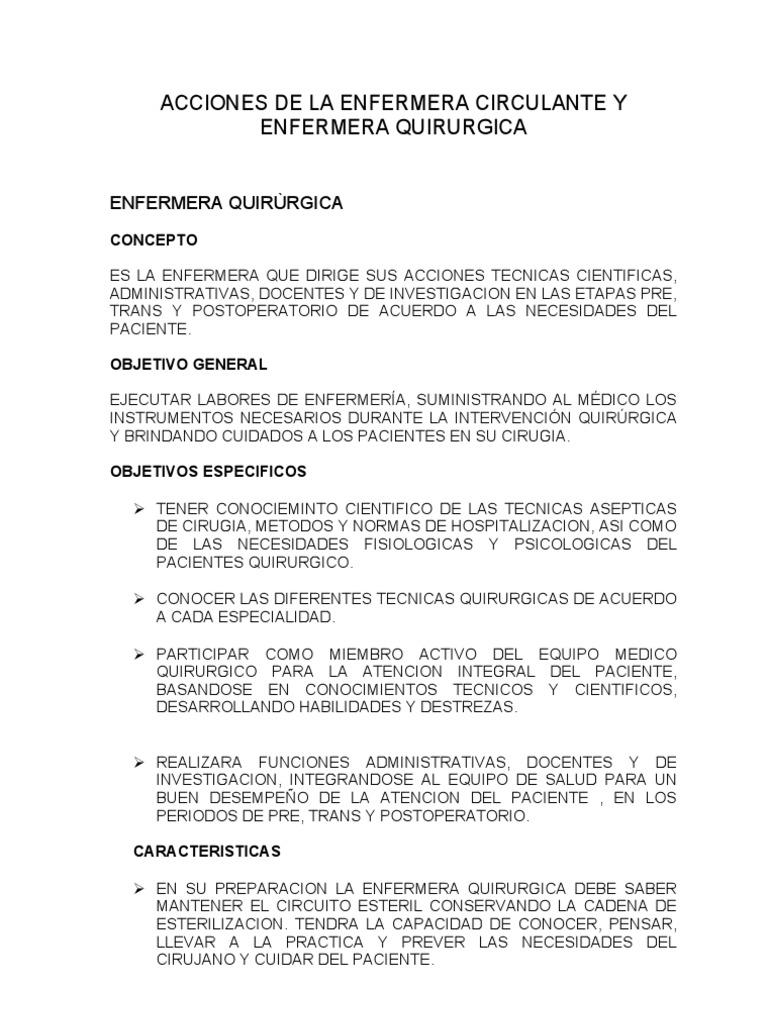 Circuito Quirurgico : Enfermera quirÙrgica en word