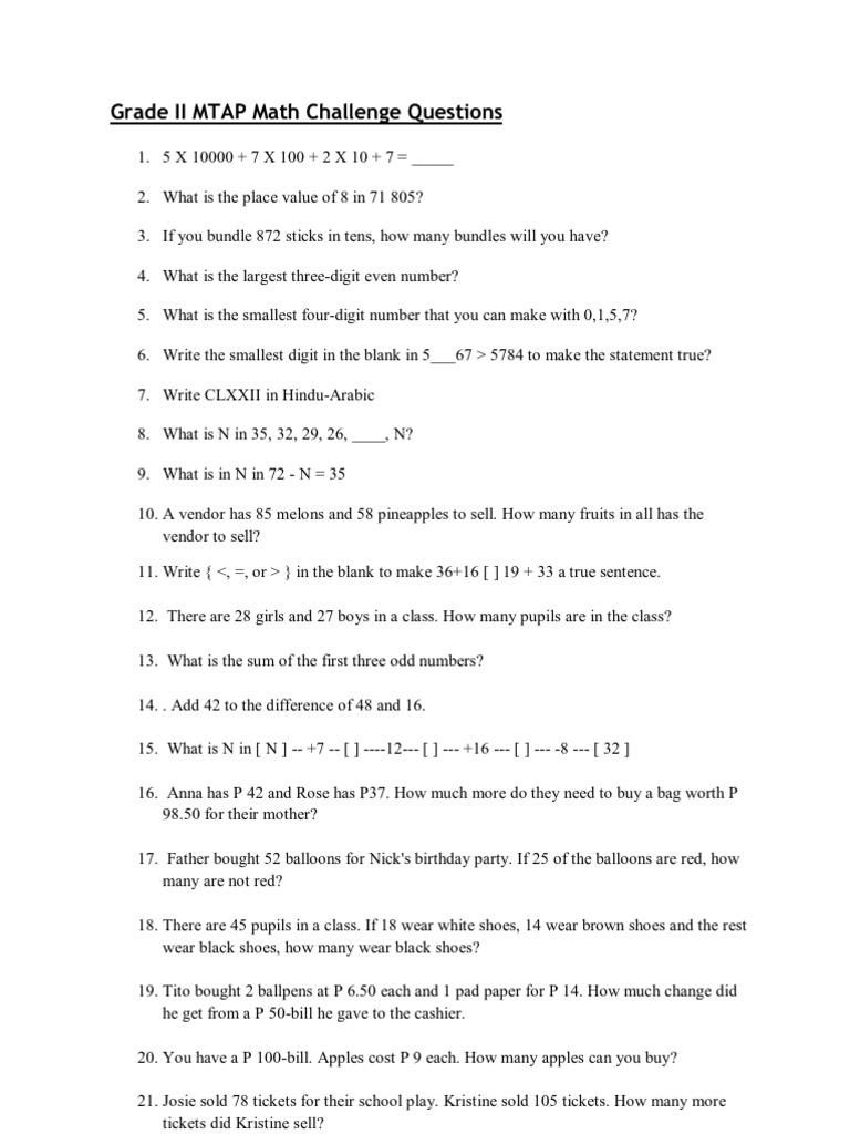 Grade II MTAP Math Challenge Questions
