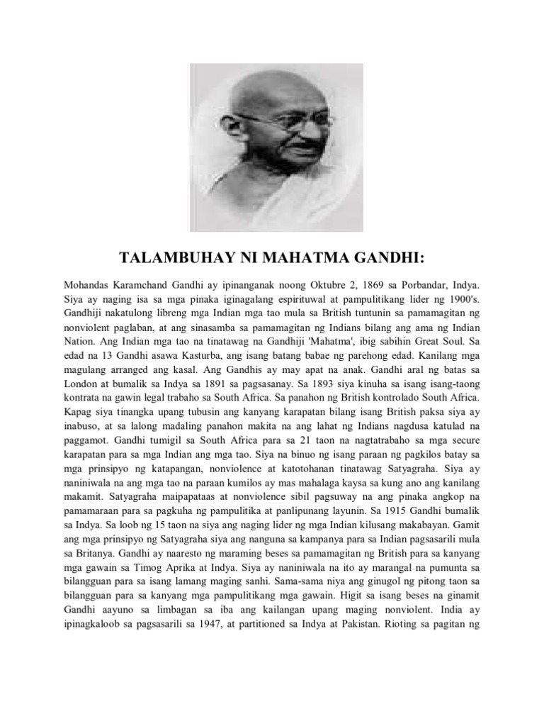 gandhi tagalog Filipino american literature gandhi's salt march to dandi posted june 20, 2014 add mahatma gandhi came to an impasse in his political career focused on.