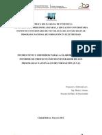 Instructivo  y Criterios para la elaboración del Informe de los Proyectos Socio-Integradores