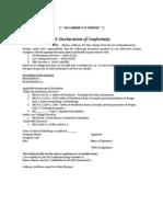 Format for Declaration of Conformity 2006 42 EC