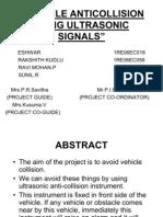 Vehicle Anti Collision Using Ultrasonic Signals