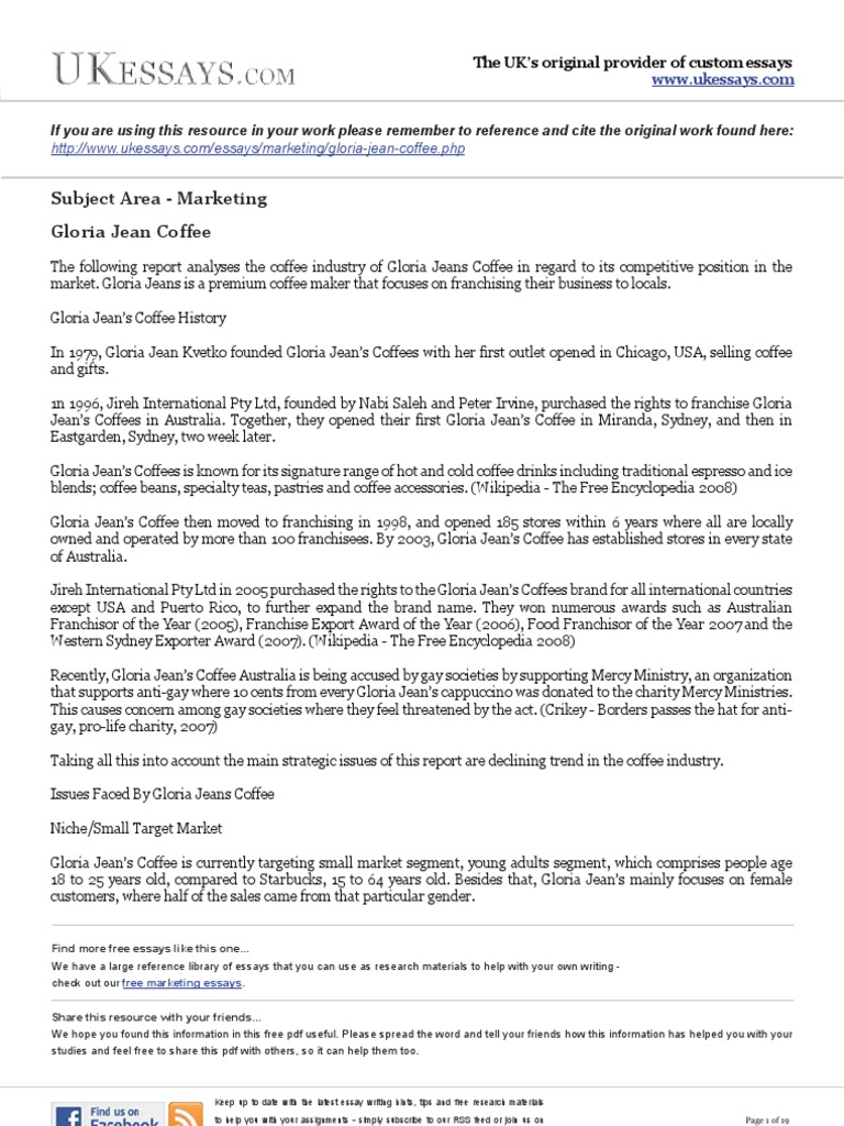 marketing essays   gloria jean coffee  economies  business