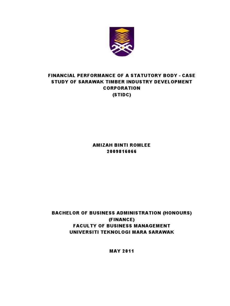 Financial Performance Of A Statutory Body Case Study Of Sarawak Timber Industry Development Corporation Revenue Market Liquidity