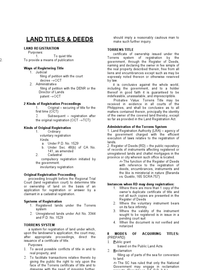 Land Titles And Deeds Final Deed Title Property