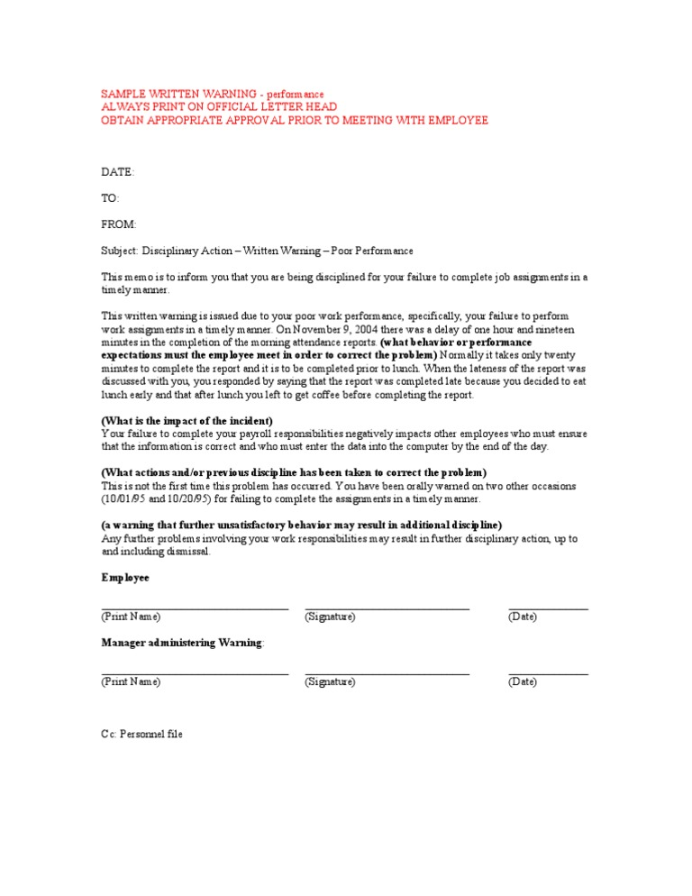 warning letter for employee sample