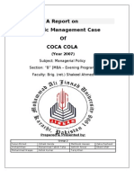 Coca Cola a Report on Strategic Management