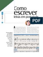Como escrever letras em português - Backstage 193 - Dez/2010
