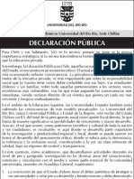 Declaración Pública Asociación Académicos UBIOBIO-Chillán
