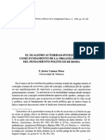El Dualismo Autoridad-Potestad como Fundamento de la Organización y del Pensamiento Políticos de Roma