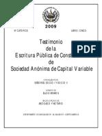 testimonio de escritura de constitución de sociedad anónima de capital variable