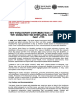 2011 World Report on Disability Press Release  WHO World Bank