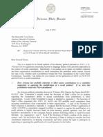 Senator Pearce Letter Requesting Attorney General Opinion