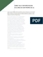 PROYECTO SOBRE TALA Y REFORESTACION FORESTAL EN EL ÁREA DE SAN PEDREO DE LA LAGUNA