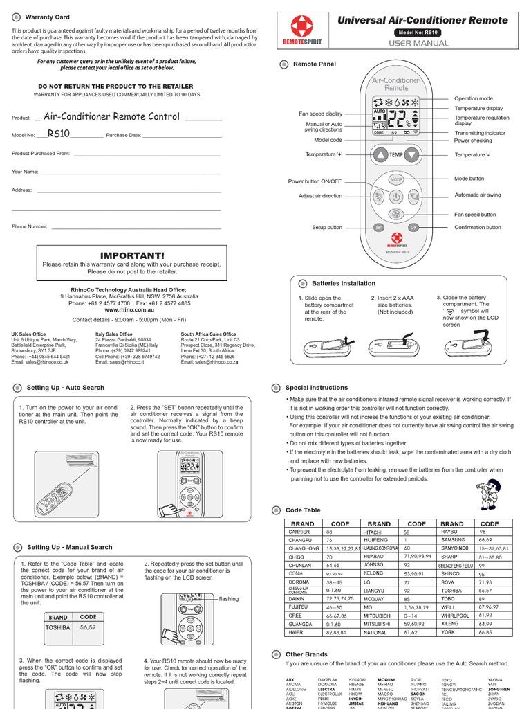 RS10 Manual | Batería (Electricidad) | Electrónica