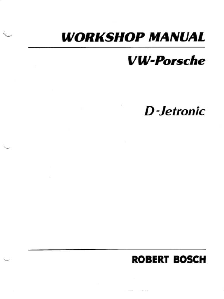 Bosch D Jetronic Fuel Injection Manual