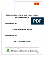 Information system and value chain of MacDonald's
