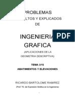 DOC3(10-06-2011). PROBLEMAS RESUELTOS Y EXPLICADOS DE  INGENIERÍA GRÁFICA. TEMA 3/15 ABATIMIENTOS Y ELEVACIONES