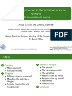 The role of reciprocation in the formation of social networks, with an application to blogging