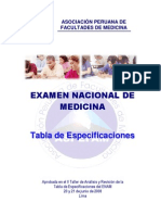 Tabla de Especificaciones Enam