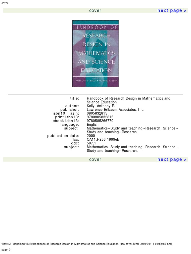 Handbook of research design in mathematics and science education handbook of research design in mathematics and science education science education science fandeluxe Choice Image