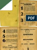 1933. LAS -Aprismo y Religion -El Anti Rodo