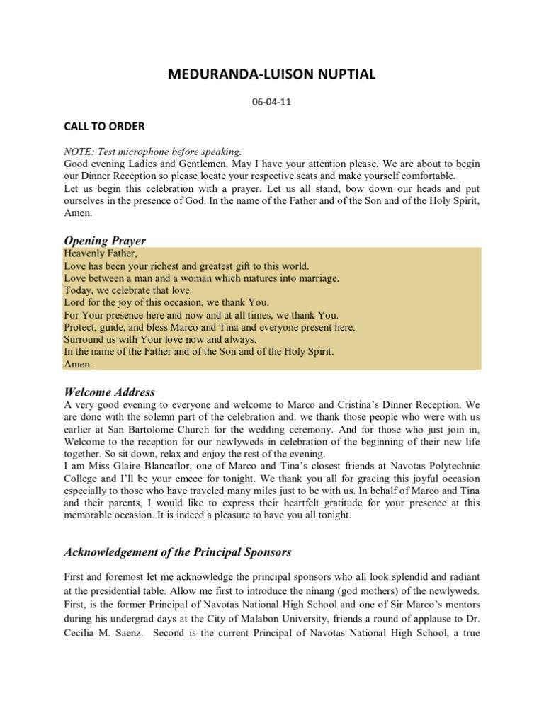 Meduranda-luison Wedding Script   Wedding   Rites Of Passage