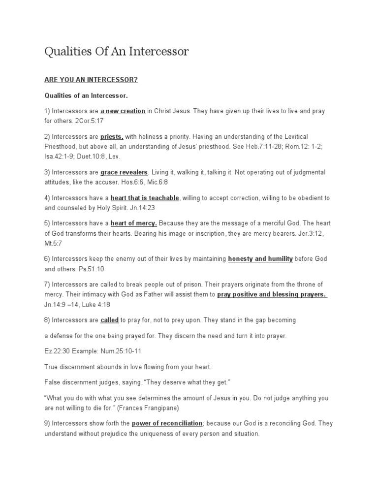 Prayer - Qualities of an Intercessor | Intercession | Mercy