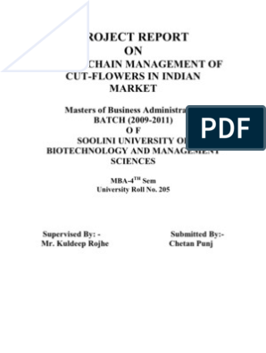 PROJECT REPORT on Supply Chain Management of Cut Flowers