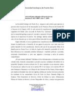 COMUNICADO DE PRENSA REFERENTE AL PROYECTO DE LEY- LEY DE PERMISOS (P. DEL S. 880/P. DE LA C. 1649) POR LA SOCIEDAD GEOLÓGICA DE PUERTO RICO 08-18-09