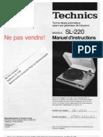 Technics SL-220 Manuel d'instructions - Français