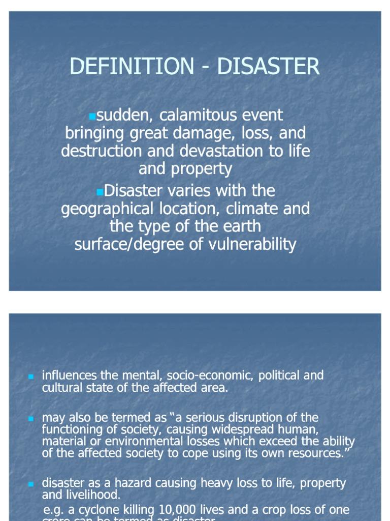 definition - disaster | emergency management | risk management