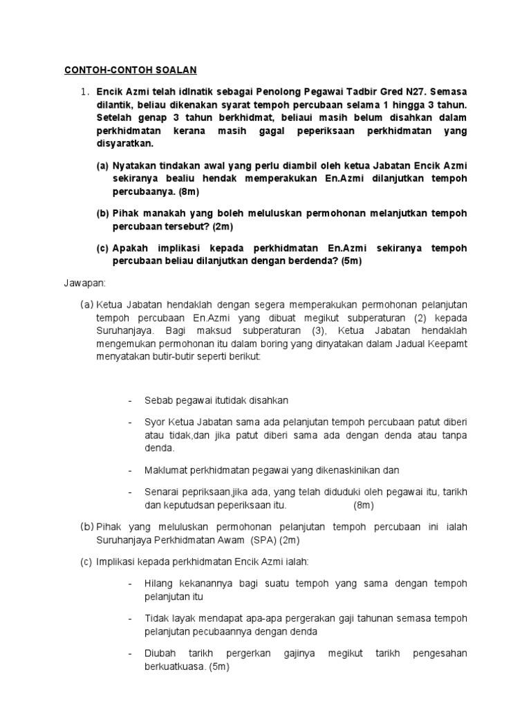 Contoh Surat Pelanjutan Tempoh Percubaan Pekerja