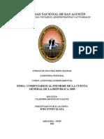 Comentarios Al Informe de La Cuenta Gral de La Republica