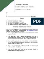 Affidavit of W - Applicants v. AG, IGP, DPP, UVDL