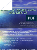 Uptake of Inhalational anaesthetics