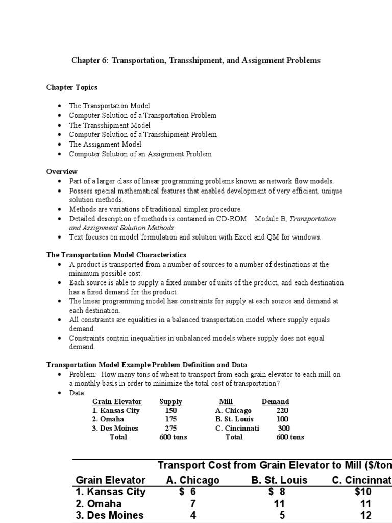 Taylor Chapter 6 Transportation | Linear Programming | Applied