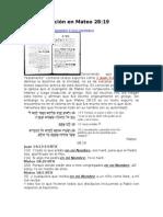 La Falsificación en Mateo28-19