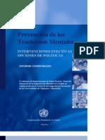 Prevención de los transtornos mentales