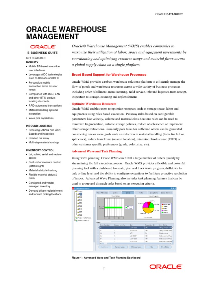Oracle WMS R12 White Paper | Warehouse | Logistics