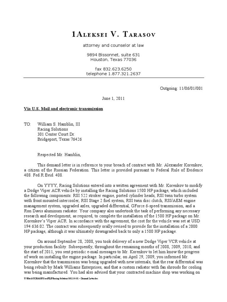 Settlement Demand Letter Sample