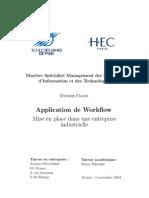Application de Workflow. Mise en Place Dans Une Entreprise Industrielle